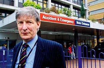 Professor Malone Lee outside the Whittington hospital